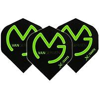 Michael van Gerwen negro con verde logo Extra grueso dardos – 3 juegos por paquete (9 dardos en total) y tarjeta de comprobación Red Dragon