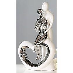 Moderne Skulptur Romanze aus Keramik weiß/silber Höhe 33,5 cm Breite 19,5 cm
