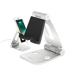 NIUBEE Playstand für Nintendo Switch Game,Tablet Ständer Faltbar Handy Verstellbar Multi-Winkel Aluminium Halterung für iPhone,iPad,Galaxy S6 S7,Note 6 5, E-readers,Smartphones Weiß