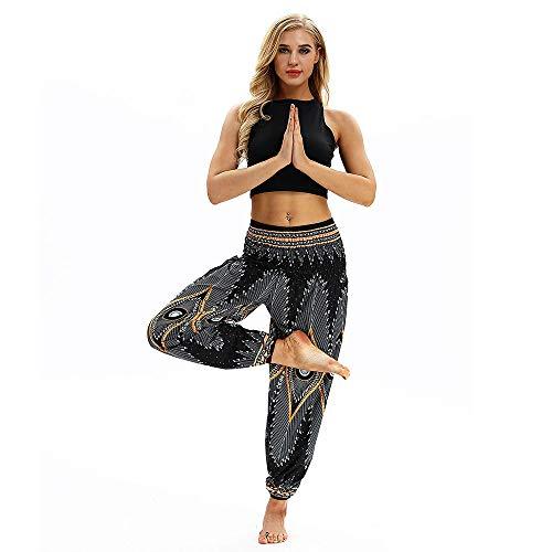 Lazzboy Harem Hippie-Yoga-Hosen Frauen beiläufige lose Baggy Boho Aladdin (Schwarz) (Sexy Harem Mädchen Kostüm)