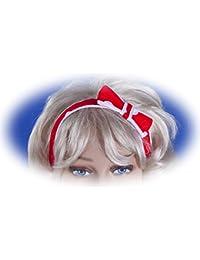 SETRINO Haarband, Haartuch, mit Schleife in rot mit weissen Punkten Rockabilly Fities Stil (BAND BOW REWH)