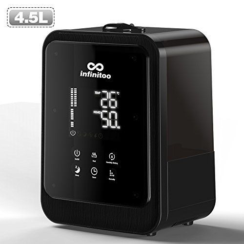 Umidificatore ambiente touch screen infinitoo 4.5l nebbia 360° lavorare più di 12 ore,timer, osservare di temperatura e umidità, display led, purificatore d'acqua incorporato, telecomando, silenzioso (4.5l touch screen)