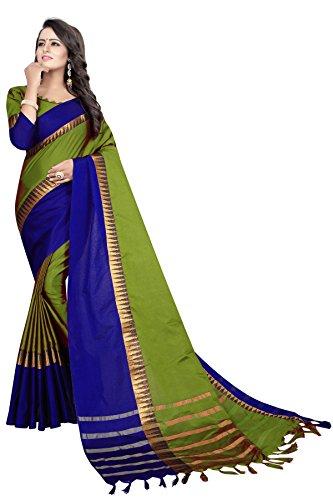 Women's cotton Silk Saree With Blouse Piece (TempleVisvaVatiation) (MehndiBlue)