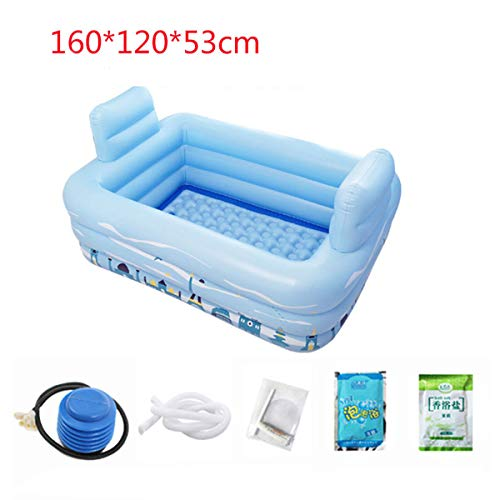 Vasca da bagno per adulti, vasca idromassaggio, vasca idromassaggio, set da piscina facile da impostare, autostabile, 160 * 120 * 53cm, blu,3
