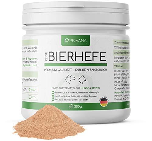 PRIVANA Natürliches Bierhefe Pulver - 300g - 100{69603035ea9dbb2d29336b194f609a682ac0f4d7b467bca942ef093fb747549b} rein & natürlich - B-Vitamine, Aminosäuren, Mineralstoffe - Made in Germany - für Hunde & Katzen