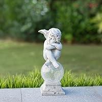 Statua con sfera a energia solare, a forma di cherubino
