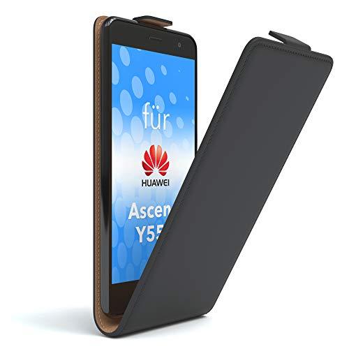 EAZY CASE Huawei Ascend Y550 Hülle Flip Cover zum Aufklappen, Handyhülle aufklappbar, Schutzhülle, Flipcover, Flipcase, Flipstyle Case vertikal klappbar, aus Kunstleder, Schwarz