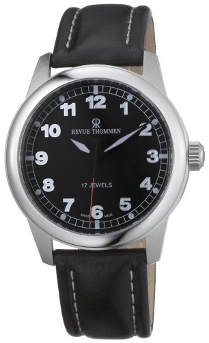 Revue Thommen Men's Automatic Watch Pilot Basic Winder Black 17070.3537 with Leather Strap