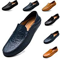 Smart Casual Shoes for Men Loafers Slip on Shoes Mens Leather Driving Shoes Black Blue Brown(Blue,UK6.5)