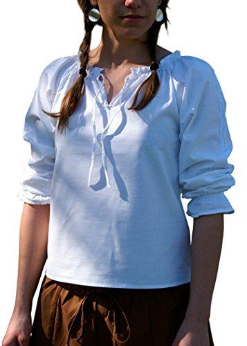 Mittelalterliche Bluse mit Spitze, weiss aus weicher Baumwolle - Mittelalter - LARP - Wikinger Größe M