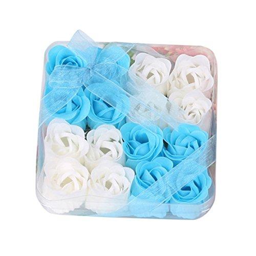Bunte Rosen-Dekorationen,Moonuy 16 Stücke Herz Duftenden Körper Blütenblatt Rose Blume Seife Hochzeit Dekoration Geschenk für eine schnelle Handwäsche oder luxuriöses Bad (Blau)
