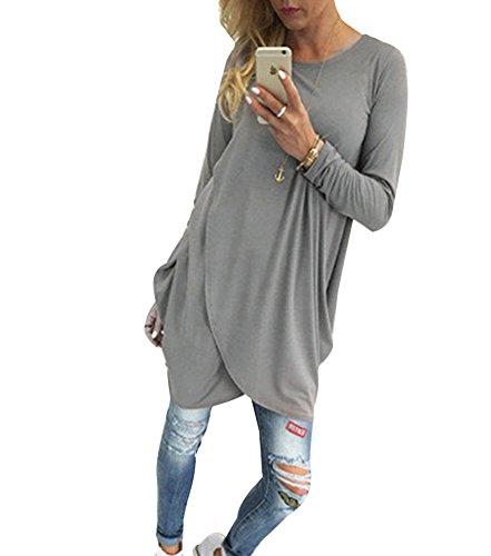 Donna Manica Lunga Bordo Irregolare Semplice Base Mini Vestiti Tunica Camicia Vestito Grigio