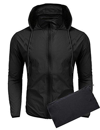 Coofandy Chaqueta Impermeable Negro con Capucha y Bolsillo de Moda Hombre XXL