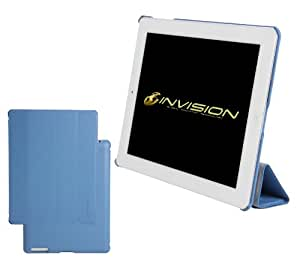 "Invision® New iPad 4 (with Retina Display) & iPad 3 Case Cover in Blue - Front & Back Protection Smart Cover With Magnetic Auto Wake & Sleep Function - Full Grade Leather (PU) with Smooth Satin Inner Cloth - Premium Quality with Superior Design Features - Independently Recommended by ""Which?"" Magazine. (Blue iPad 3 & 4 Case)"