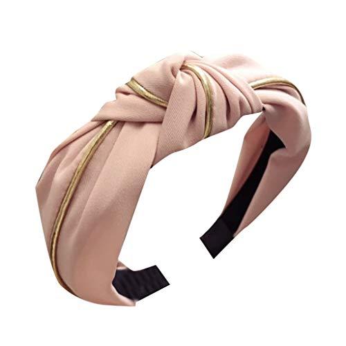 jgashf Damen Stirnband Mädchen Haarband Breit Haarbänder Bow Knot Cross Tie Samt Haarband Kopfband Zubehör Kopfschmuck Haarschmuck(Rosa)