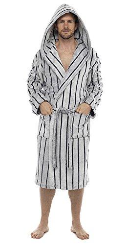 Luxuriöser Herren-Kapuzen-Bademantel, super weicher Fleece-Bademantel, Bademantel mit Fellkragen oder Kapuze–in Geschenkverpackung mit Schleife, perfektes Männergeschenk Hellgrau