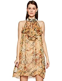 House of Pret Women's Silk Halter Neck Dress (AC002DR05M, Yellow, Medium)