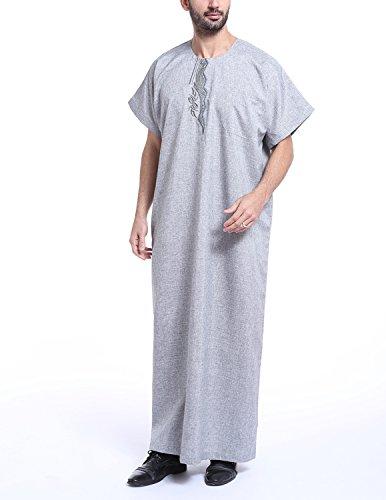 YCHENG Herren Kurzarm Rundhals Bestickt Muslimische Thobe Robe Kleid T-shirt Grau