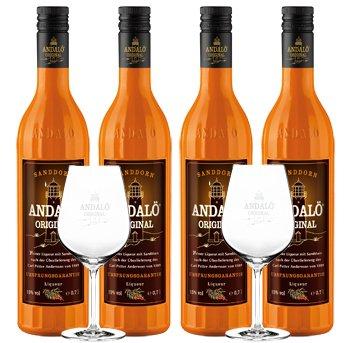 Andalö 4 x 0,7l Andalö Sanddorn-Liqueur in der 0,7l Glasflasche 15% vol incl. 2 Gläser