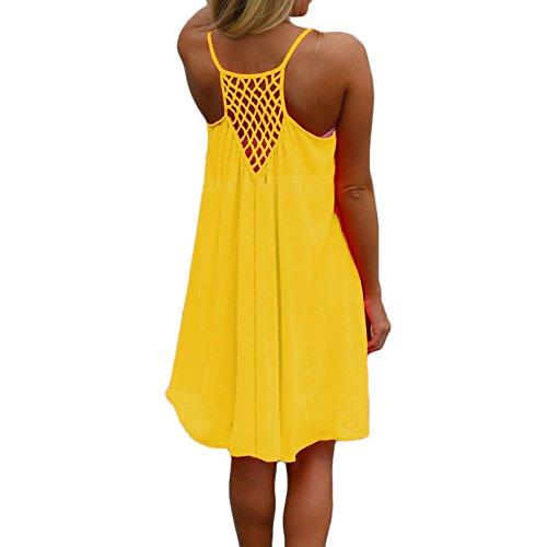 Frauen Mode Rundkragen ärmellos Sling Trägerlos Rückenfrei Grid Spleißen Einfarbig Loose Beiläufige Beachwear Minikleid Trägerkleid Strandkleider Freizeitkleider Gelb