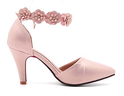 YE Damen Knöchelriemchen Pumps Spitze High Heels mit Blumen Schnalle und Blockabsatz 8cm Bequem Schuhe Rosa