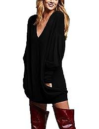 Zanzea Sweat-Shirts Femme Automne Pull à Manches Longues Casual Grande Taille Blouse Couleur Unie Sexy Col V Hauts