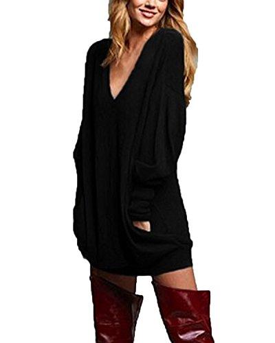 Zanzea Pull Femme Hiver Grand Taille Chemises à Manches Longues Tunique Casual Large Top Haut Sexy Col V 01-Noir EU 44
