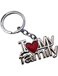 I Love My Family Silver & Red Metal Keychain & Keyring For Family Lover