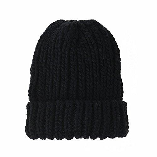 WITHMOONS Strickmützen Seemannsmütze Knit Beanie Hat Basic Plain Thick Crochet Watch Cap KR5911 (Black)