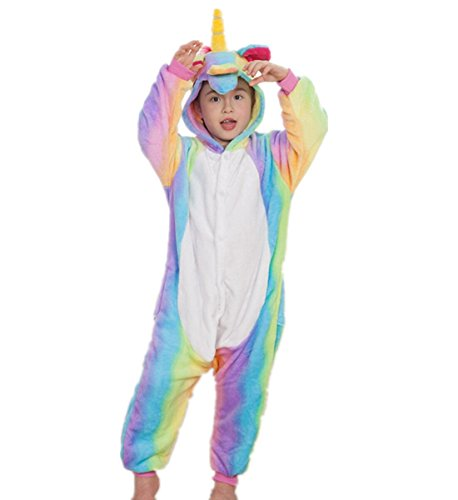 Colourfulworld Einhorn Pyjamas Tierkostüme Fleece Overall Schlafanzug Tier Unicorn Kostüme Cosplay Tieroutfit Für Kinder / Erwachsene (135-144cm, style2)