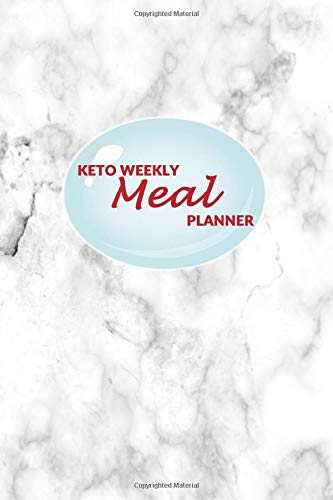 Keto Weekly Meal Planner: 52 weeks of Food Menu Planning with Grocery Shopping List, Recipe pages   White Marble Print White Wall Plate Insert