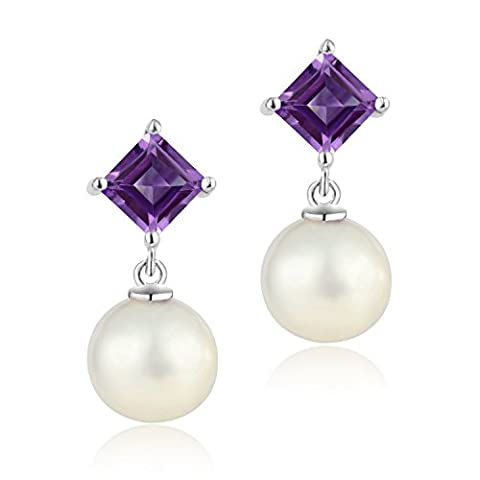 Dormith® 1.24 Carats Natural Amethyst AAAA perfect circle freshwater Pearl drop earrings for women
