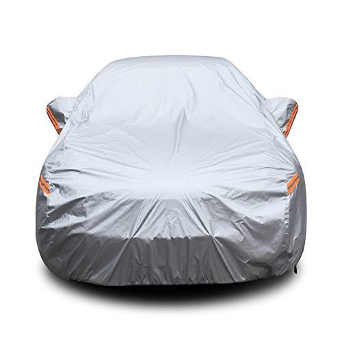 YIBEICO Bâche Voiture Housse de Protection Auto Exterieur avec Zippé/Bande Fluorescente 510 * 190 * 150cm
