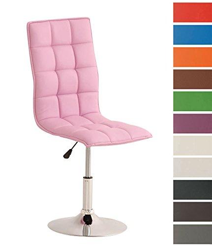 Clp sedia sala da pranzo peking, similpelle, sedie da cucina, sedie moderne, altezza regolabile 40 - 54 cm, sedia imbottita e girevole, con schienale alto e senza braccioli, in vari colori rosa