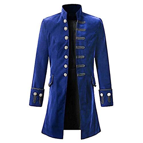 (Shujin Herren Vintage Steampunk Gothic Jacke Frack Jacke Viktorianischen Langer Mantel Military Coat Cosplay Kostüm Smoking Jacke Uniform)
