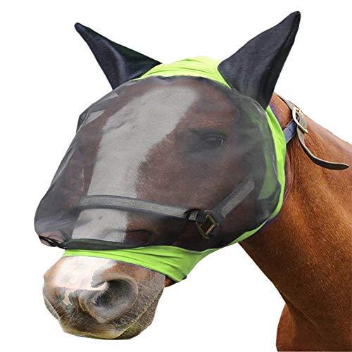 Yapott Feines Netz Pferd Fliegenmaske mit Ohren Pferd Gesicht Schützt vor Fliege Sonnenschutz - Blau