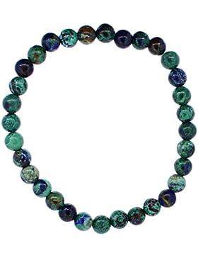 echtes Azurit-Malachit Armband Perle 6 mm mit Stretch-Nylonfaden, Edelsteinarmband