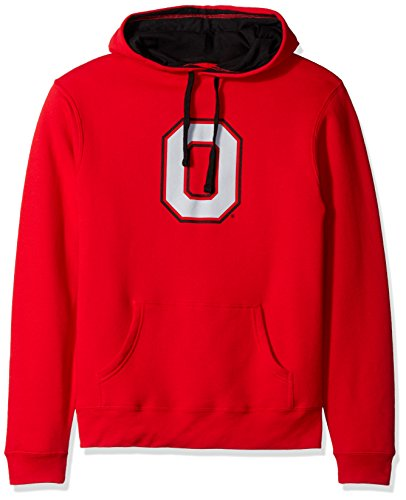 J. America Basic Fleece Ohio State Block O Foundation Kapuze, unisex, BASIC FLEECE HOOD, rot/schwarz