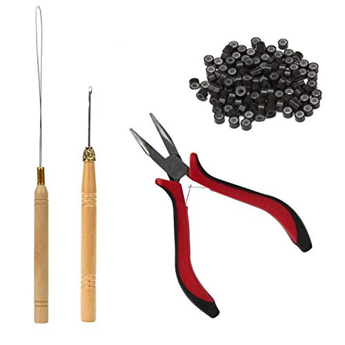 Pinza e uncinetto professionali con 200 micro anelli silicone da 5 per lapplicazione di extension di capelli e piume