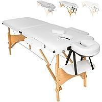 TecTake Camilla de masaje mesa de masaje banco 2 zonas plegable + bolsa - disponible en diferentes colores - (Blanco   No. 401464)