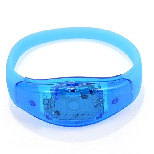 GLOGLOW LED-Armband, 8 Farben Flash-LED-Licht Party Konzert Show Silikon Armband Armreif Armband(Blau)
