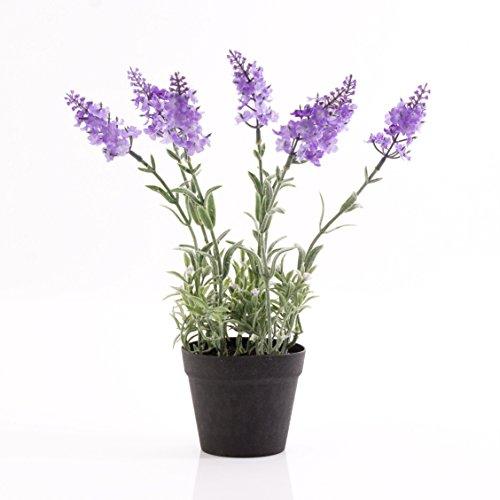 Künstlicher Lavendel im Topf, hellviolett, 29 cm - Kunstblume / Deko Blume - artplants