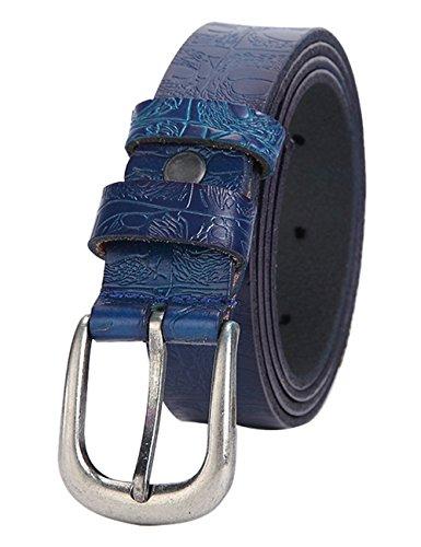 Womens Buff Leather Belt Center Bar Buckle Waist Strap 2.8cm 002Blue