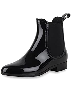 Damen Schuhe Chelsea Boots Lack mit Blockabsatz