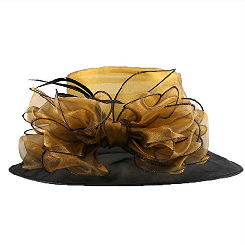 GSDJU Golf Visier Visiere Angeln Elegante Kentucky Derby Hüte für Frauen Sommer Organza große breite Krempe Bonnet Hochzeit Party White Church Hat