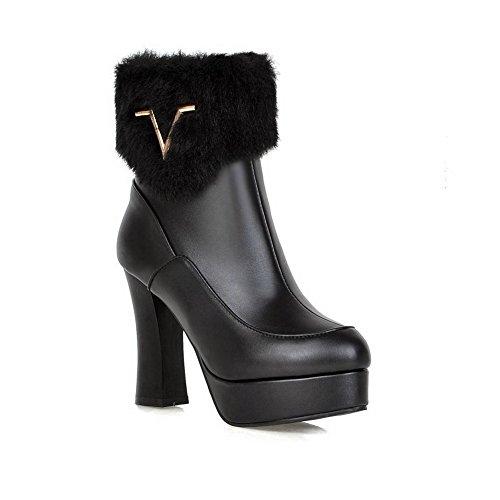 VogueZone009 Damen Blend-Materialien Hoher Absatz Rund Zehe Rein Reißverschluss Stiefel, Schwarz, 35
