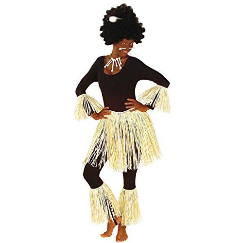 Zulu Krieger Kostüm Hawaii Kostümset Bast Afrikaner Faschingskostüm Strandparty Südsee Sommerparty Karibik Karnevalskostüm Hawaiiparty Hawaiirock Beinstulpen Armstulpen Sommer Mottoparty Verkleidung Karneval Kostüm Zubehör (Zulu Krieger Kostüm)