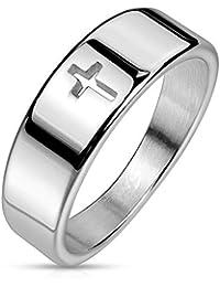 Paula & Fritz® Edel-stahlring Silber 6mm breit Jesus Kreuz Damen-Ring Herrenring Verlobungs-Ring Freundschaftsring Partnerring 47 (15) – 72 (22.9)