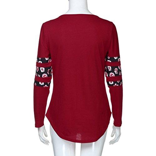 Chemisier Femme,Xjp® Hot Manche Longue Imprimé Floral Coton Chemise Décontractée Rouge