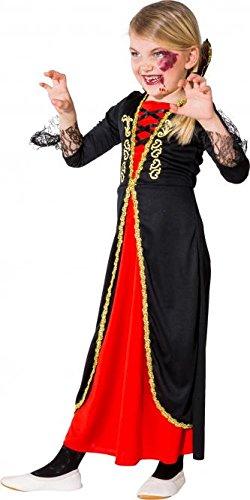 Vampir Kostüm Mädchen Schwarz Rot Dracula Kinder Kostüm Kleid (Mädchen Dracula Kostüme)